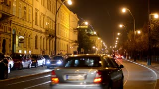 night city - night urban street with cars - lamps(lights) - car headlight