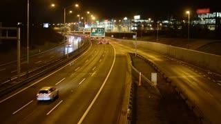 night highway cars - night city - lights