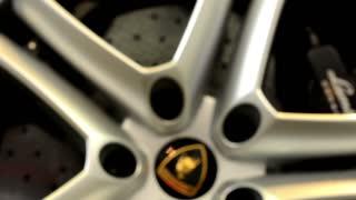 PRAGUE, CZECH REPUBLIC, CAR EXHIBITION - SEPTEMBER 27, 2014: car wheel - disc brake - Lamborghini - closeup (detail)