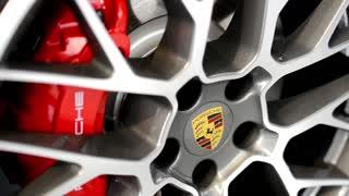 PRAGUE, CZECH REPUBLIC, CAR EXHIBITION - SEPTEMBER 27, 2014: car wheel - disc brake - Porsche