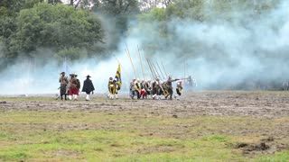 PRAGUE, CZECH REPUBLIC, SHOW: BATTLE OF WHITE MOUNTAIN - SEPTEMBER 20, 2014: soldiers fight each other - military - battleground (army forces) - battlefield - battle from modern times