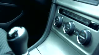 Slowmotion view on driver seat in car