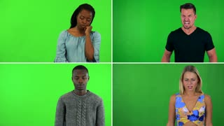 4K compilation (montage) - four people act angry - green screen