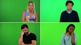 4K compilation (montage) - four people act bored - green screen