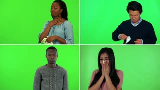4K compilation (montage) - four people are sick and blow their nose - green screen