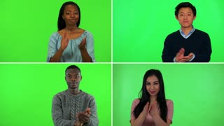 4K compilation (montage) - four people clap their hands and smile at the camera - green screen
