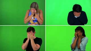 4K compilation (montage) - four people cry with hands over their faces - green screen