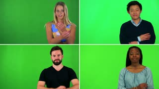 4K compilation (montage) - four people fold their arms across their chests and smile at the camera - green screen