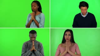4K compilation (montage) - four people pray with hands clasped together - green screen