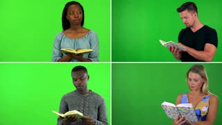 4K compilation (montage) - four people read books - green screen