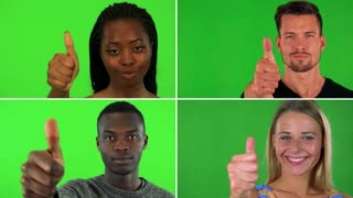 4K compilation (montage) - four people smile and show a thumb up to the camera - closeup - green screen