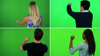 4K compilation (montage) - four people stand with backs to the camera and cheer - green screen