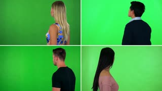 4K compilation (montage) - four people stand with backs to the camera and look around - green screen