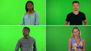 4K compilation (montage) - four people strike poses for the camera - green screen