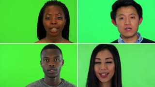 4K compilation (montage) - four people talk to the camera - face closeup - green screen