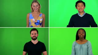 4K compilation (montage) - four people talk to the camera - green screen