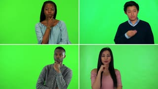 4K compilation (montage) - four people think about something - green screen