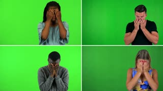 4K compilation (montage) - four people uncover their eyes and look around in confusion - green screen