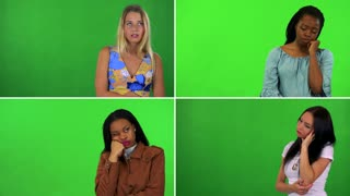 4K compilation (montage) - four women act bored - green screen