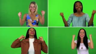 4K compilation (montage) - four women celebrate - green screen