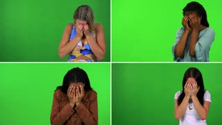 4K compilation (montage) - four women cry with hands over their faces - green screen