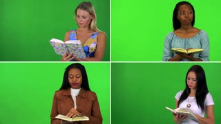 4K compilation (montage) - four women read books - green screen