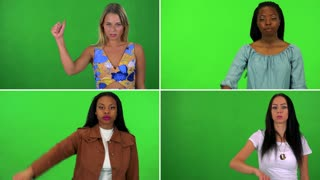 4K compilation (montage) - four women show a thumb down to the camera and shake their heads with a frown - green screen