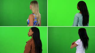 4K compilation (montage) - four women stand with backs to the camera and look around - green screen