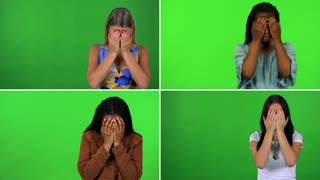 4K compilation (montage) - four women uncover their eyes and look around in confusion - green screen