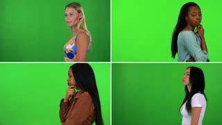 4K compilation (montage) - four women walk back and forth and think about something - green screen