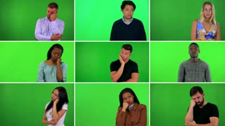 4K compilation (montage) - group of nine people act bored - green screen