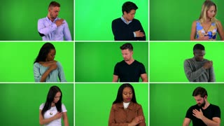 4K compilation (montage) - group of nine people adjust their clothes and smile at the camera - green screen