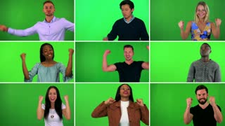 4K compilation (montage) - group of nine people celebrate - green screen