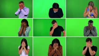 4K compilation (montage) - group of nine people cry with hands over their faces - green screen