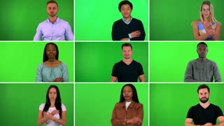 4K compilation (montage) - group of nine people fold arms across their chest and smile at the camera - closeup - green screen