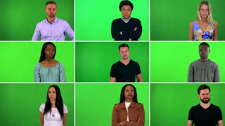 4K compilation (montage) - group of nine people frown at the camera and shake their heads - green screen