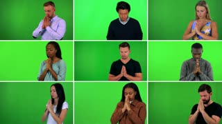 4K compilation (montage) - group of nine people pray with hands clasped together - green screen
