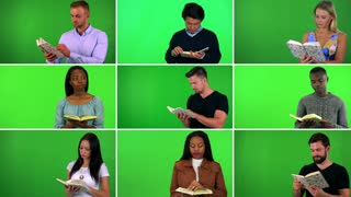 4K compilation (montage) - group of nine people read books - green screen
