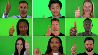 4K compilation (montage) - group of nine people smile and show a thumb up to the camera - closeup - green screen