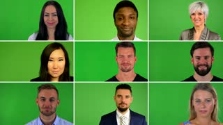 4K compilation (montage) - group of nine people smile to camera - closeup- green screen studio