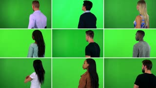 4K compilation (montage) - group of nine people stand with backs to the camera and look around - green screen