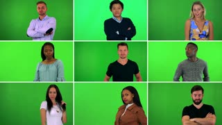 4K compilation (montage) - group of nine people strike poses for the camera - green screen