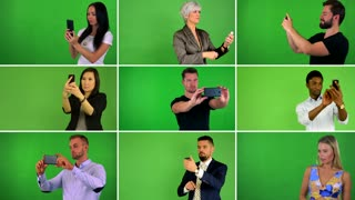 4K compilation (montage) - group of nine people take pictures with smartphone - green screen