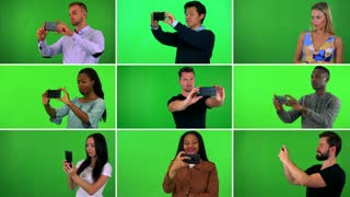 4K compilation (montage) - group of nine people take pictures with smartphones - green screen