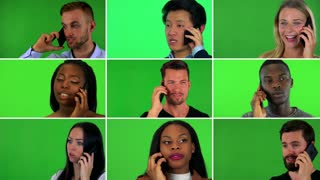 4K compilation (montage) - group of nine people talk on smartphones - face closeup - green screen