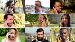 4K compilation (montage) - group of nine people talk on smartphones in various environments - face closeup