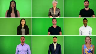 4K compilation (montage) - group of nine people talk to camera - green screen studio