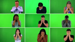 4K compilation (montage) - group of nine people uncover their eyes and look around in confusion - green screen