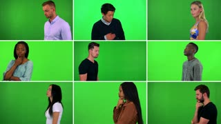 4K compilation (montage) - group of nine people walk back and forth and think about something - green screen