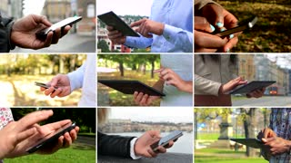 4K compilation (montage) - group of nine people work on devices in various environments - closeup